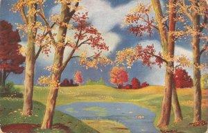 Fantasy lanscape with trees Old vintage antique German postcard