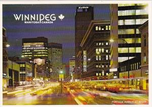Canada Winnipeg Portage Avenue At Night