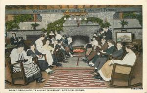 1920s Pasadena Mt Lowe California Fire Place Ye Alpine Tavern  Teich 10391