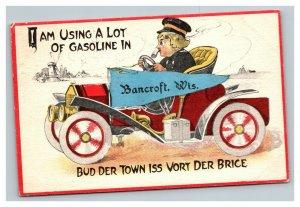 Vintage 1911 Postcard Dutch Boy Smoking Pipe Antique Auto Bancroft Wisconsin