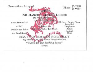 Oversized Business Card Bishop's Se Rancho Motor Lodge Salt Lake City Utah