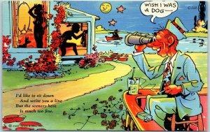 1940s RAY WALTERS Postcard Wish I Was a Dog Curteich Linen SHADOW COMICS C-150