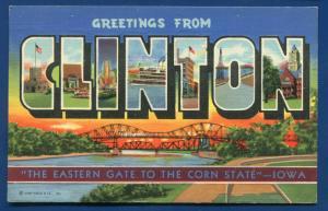 Clinton Iowa ia large letters linen postcard