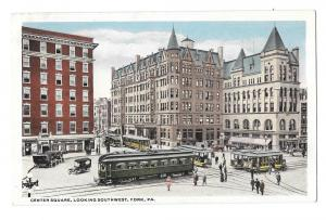 York PA Center Square Looking Southwest Trolleys Postcard