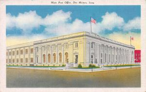 Main Post Office, Des Moines, Iowa, Early Linen Postcard, Unused