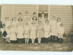 rppc c1910 ALL GIRL SCHOOL PICTURE EXCEPT FOR ONE BOY AC8747