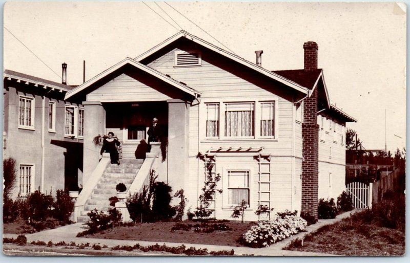 c1910s RPPC Real Photo Postcard Man & Woman on House Porch - Prob. California