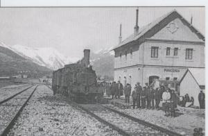 Postal 012292: Locomotara Vapor 030-2075 con tren viajero en Puigcerda, a? 1920