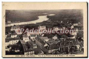 Postcard Old Gray View Of The Meadow And The Saone