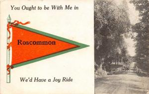 Roscommon Michigan~Vintage Car on Bridge You Ought to be w Me~Pennant Postcard