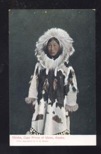 OBLEKA CAPE PRINCE OF WALES ALASKA ESKIMO GIRL ANTIQUE VINTAGE POSTCARD