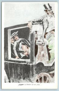 Postcard French Risque Man Woman Nude Action Cartoon Love In Carriage Q16