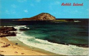 Rabbit Island Oahu Hawaii Makapuu Beach - CHROME VINTAGE POSTCARD