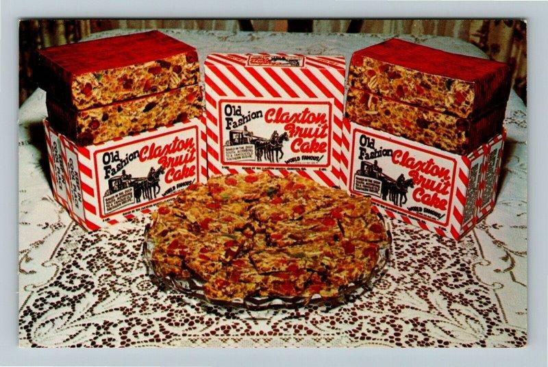 Claxton GA- Georgia, Claxton Bakery, Fruitcake, Advert, Vintage Chrome Postcard