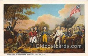 Surrender of Burgoyne Saratoga, Oct 17, 1777 Patriotic Postcard Post Card Sar...