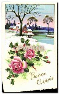 Modern Postcard Happy New Year Flowers