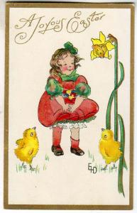 Easter - Girl with Chicks, Signed EID