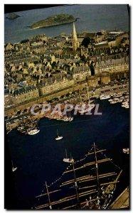 Modern Postcard Saint Malo Grand Sailboat in the Basin has Flot