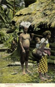Costa Rica, C.A., Native Talamanca Indians going Fishing (1910s) Wimmer Postcard