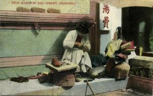 china, SHANGHAI, Native Shoe Maker in the Street (1910s) Postcard