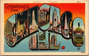 Greetings from Chicago, Illinois Large Letter Sites and Landmarks Vintage c1940