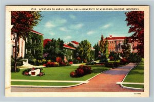 Madison, WI-Wisconsin, U. Of W., Approach Of Agricultural Hall, Linen Postcard