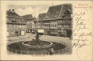 Gruss Aus Quedlinburg a.h Street Scene c1900 Postcard