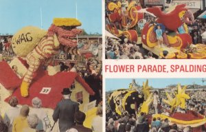 Swag Robbers On Top Of Dolls House Flower Parade Spalding 1970s Postcard