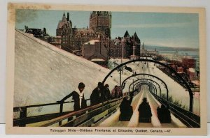 Quebec Canada Toboggan Slide, Chateau Frontenac et Glissoire Postcard A11