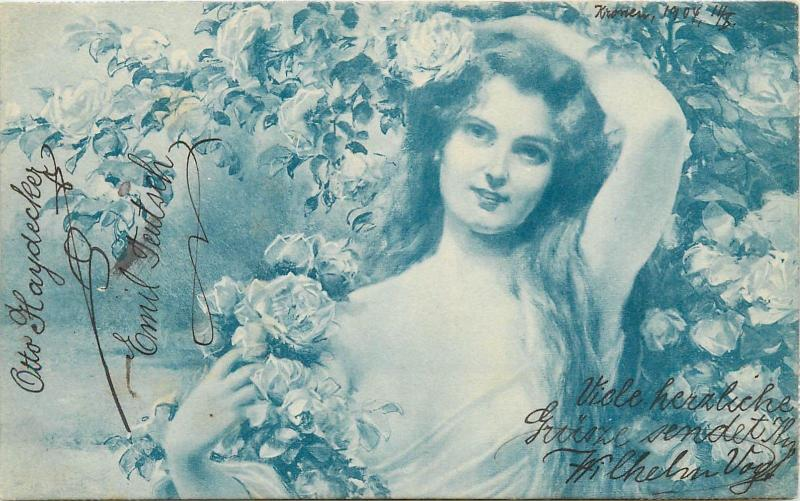 Vintage 1900s postcard beauty lady fantasy roses flowers