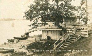 Howard Lake Minnesota Breezy Point Boat House C-1910 RPPC Photo Postcard 21-9283