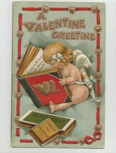 Antique POSTCARD ~ VALENTINE GREETINGS ~ Girl Cupid Books ~Dated 1911