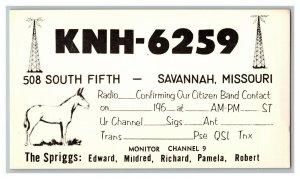 QSL Radio Card From Savannah Missouri KNH-6259