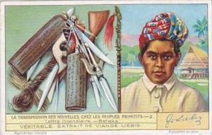 Liebig Vintage Trade Card S1266 News Among Primitive Peolpe 1932 No 2 Bataks
