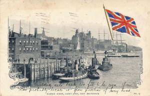 Tug Boats and Ferry Harbor Scene - St John NB, New Brunswick, Canada - pm 1906