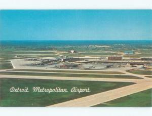 Pre-1980 AIRPORT SCENE Detroit Michigan MI E3604