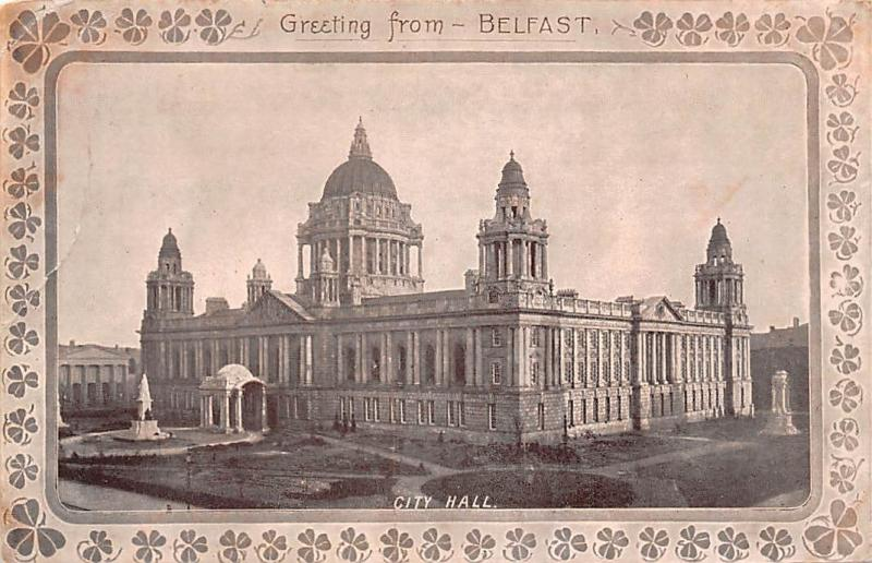 Northern Ireland Greetings from Belfast, City Hall, Shamrocks Tartan 1906