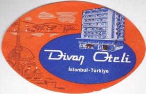 Turkey Istanbul Divan Hotel Vintage Luggage Label sk1244