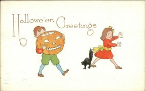 Halloween Boy w/ JOL Chasing Girl c1910 Pink Perfection Postcard