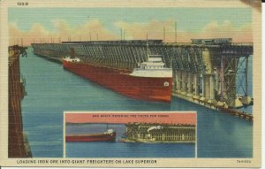 Loading Iron Ore into giant Freighters on Lake Superior