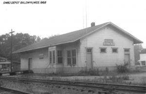 Baldwyn Mississippi GMO Railroad Depot Real Photo Antique Postcard K99283
