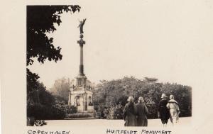 Copenhagen Huitfeldt Monument Denmark Real Photo Old Postcard