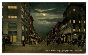 NY - Elmira. Water Street West from Lake Street at Night