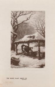 RPPC Happy Christmas - Cows in Rural Winter Scene - DB - Tuck