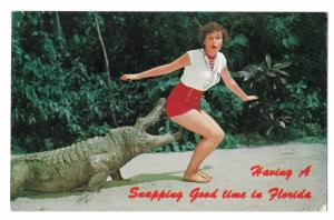 Alligator Biting Pretty Lady Having a Snapping Good Time in Florida Postcard