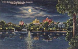 Florida Orlando Skyline By Moonlight The City Beautiful