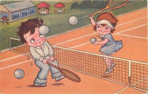 Children couple funny tennis players vintage comic postcard