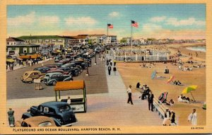New Hampshire Hampton Beach Playground and Ocean Boulevard 1945