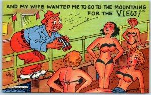 1940s Comic Postcard Man Binoculars / Pretty Girls on Beach Curteich Linen C-804