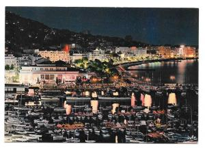 Cannes Cote d Azur Port Casino Aerial Night View Postcard